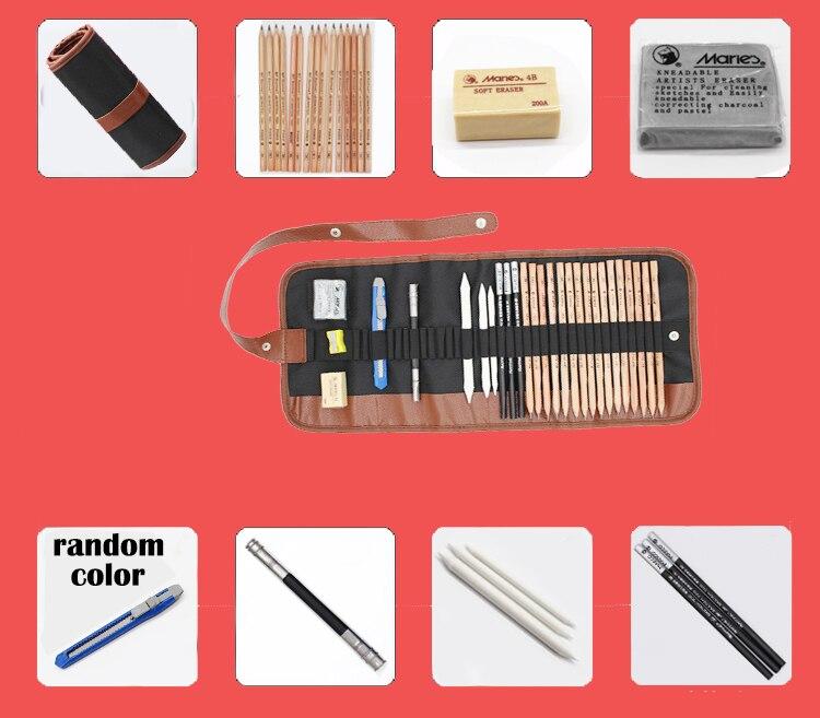 29pcs/set Portable outdoor drawing art supplies Sketch Pencils case Charcoal Eraser Cutter Kit Bag Art Craft For Drawing Tools