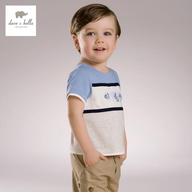 DB3567 dave bella bebê verão menino impresso camiseta de algodão menino roupas infantis toddle tees meninos azul encabeça crianças t-shirt
