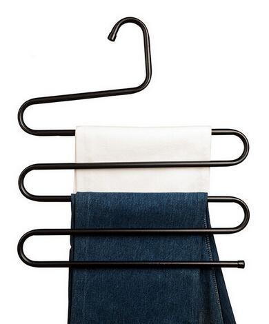 2 unids Pantalones Tipo S de múltiples capas Multi-función de Almacenamiento de Metal estante pantalones colgantes Bastidores Abrigo
