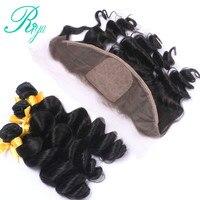 Riya Hair Peruvian Human Hair Loose Wave 3 / 4 Bundles With 13* 4 Lace Frontal Silk Base Natural Color