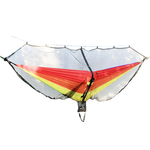 Image 4 - Detachable hammock mosquito net portable outdoor Survival nylon encryption mesh double person camping light weight hammock swing