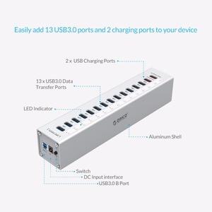 Image 2 - ORICO A3H13P2 אלומיניום 13 יציאות USB3.0 רכזת עם 2 יציאות טעינה 5V2.4A סופר מטען/5V1A אוניברסלי כסף