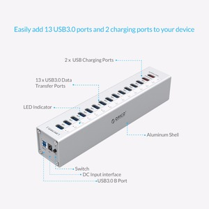 Image 2 - ORICO A3H13P2 Aluminum 13 Ports USB3.0 HUB with 2 Charging Ports 5V2.4A Super Charger / 5V1A Universal  Silver