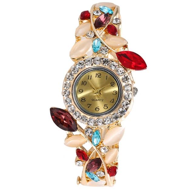 2018 New Women Round Full Diamond Bracelet Watch Analog Quartz Movement Wrist Wa