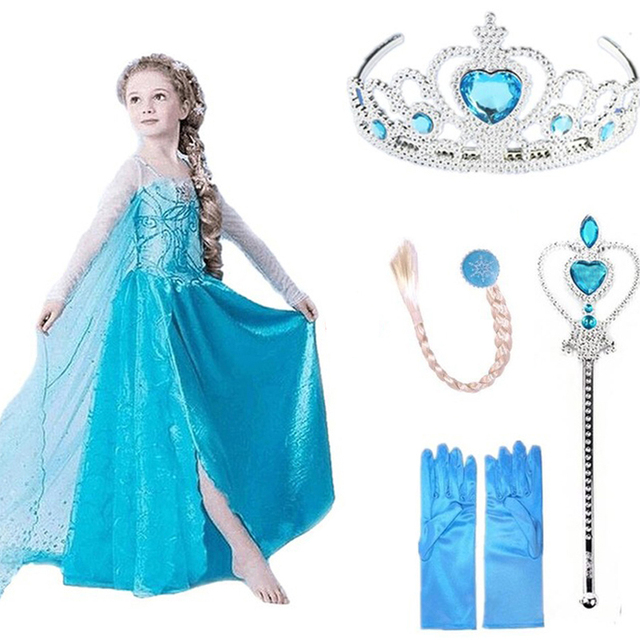 Платья Эльзы для девочек; карнавальный костюм принцессы Анны, Эльзы, Снежной Королевы; костюм Эльзы для Хэллоуина; vestidos fantasia; детская одежда для девочек