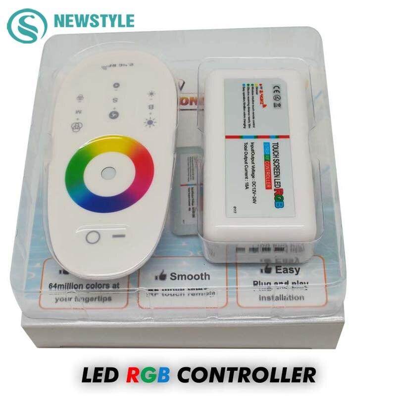 1 DC12-24V set/lot 18A RGB/RGBW Controlador LED 2,4g pantalla táctil RF Control remoto para 5050/3528 RGB tira de LED/bombilla/luz descendente