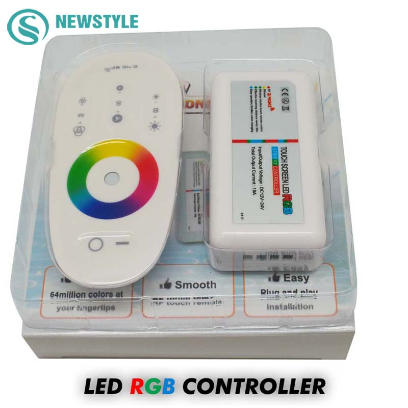 1set/lot DC12-24V 18A RGB/RGBW LED Controller 2.4G Touch Screen RF Remote Control For 5050/3528 RGB LED Strip/Bulb/Downlight