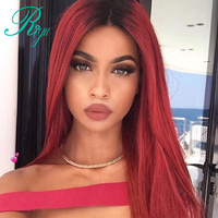 Riya Hair 1B 99J Color Brazilian Human Hair Wigs Ombre Red Wine Color Lace Frontal Human