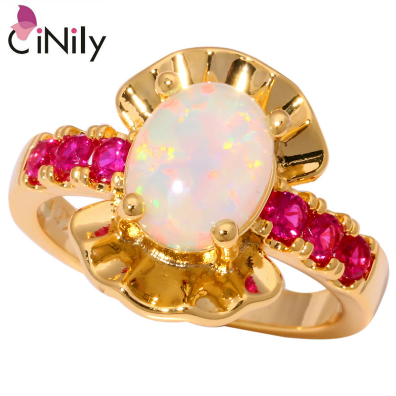 CiNily Created White Fire Opal Pink Zircon Yellow Gold Color Wholesale Hot Sell for Women Fashion Jewelry Ring Size 7 8 9 OJ8975