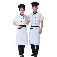 New Chef S Short Sleeved Breathable Outfit Summer Wear Work Clothes Men And Women Overalls Coats