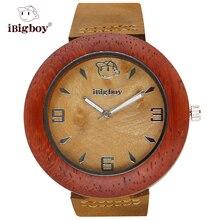 IBigboy Hombres Mujeres Naturaleza De Madera De Madera Del Reloj de Cuarzo Relojes Elegantes Señoras de La Manera Reloj Casual Relogio Feminino Reloj de la Hora