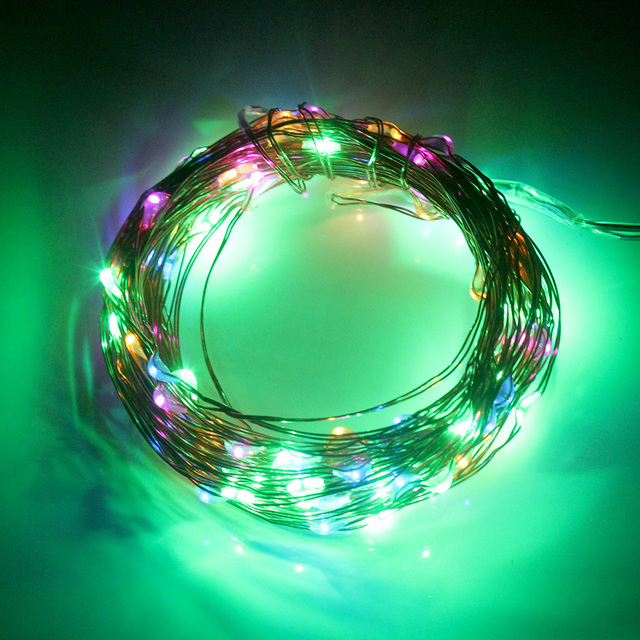 100 LED 10 M Fiesta En Casa Decoración de la Navidad Del Banquete de Boda de Cuerda Luz de Navidad Lámparas de Cobre Alambre Solar # KF