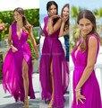 Адриана лима глубокий V шеи коротким рукавом высокой щели оборками пурпурный линии шифон платья знаменитостей новинка макси длинное платье