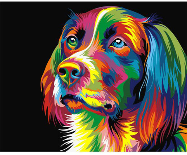 1 Panel Dog Painting Animals DIY Painting By Numbers Kits Oil Canvas Painting Unique Gift For Modern Home Decor Wall Artwork in Painting Calligraphy from Home Garden