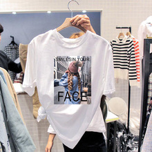 купить Women Round Neck White T-shirt Top Tees Fashion Print Short Sleeve Women Casual T Shirt for Lady Girl Tops дешево