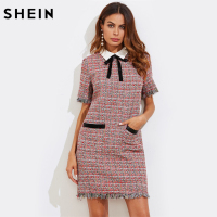SHEIN Contrast Bow Neck Fringe Trim Tweed Straight Dress Fall Multicolor Contrast Collar Short Sleeve Elegant