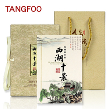 Silk Stamp Album Creative book The west lake ten views Hangzhou tourism cultural souvenir gift Art and collection book DIY charm