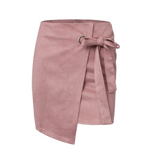 Women Suede Irregular Skirt Lace Up Bandage Sexy Mini Skirt High Waist Party Short Skirts Above Knee Black Pink Color Mujer yellow suede studded mini skirt