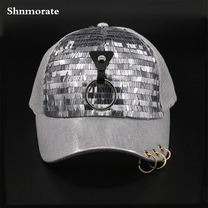 Сияющий Bling кольцо Дети От 3 до 6 лет регулируемый Повседневное Бейсбол девушка Snapback шляпа Hombre открытый шапки