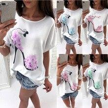 2018 חדש של נשים קיץ רופף אופנה Pullover O-Neck מקרית באטווינג שרוול קצר גבוהה עקב צחצוח מודפס חולצות טריקו כותנה