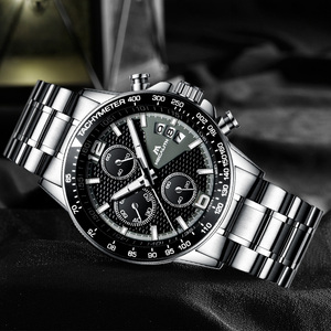 Image 5 - MEGALITH 男性スポーツクロノグラフウォッチ腕時計防水日付カレンダークォーツ時計メンズファッションカジュアルレザーストラップ Wirst 腕時計メンズ