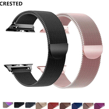 CRESTED Strap For Apple Watch band Milanese Loop apple watch 4 3 band iwatch band 42mm 38mm correa 44mm/40mm pulseira bracelet