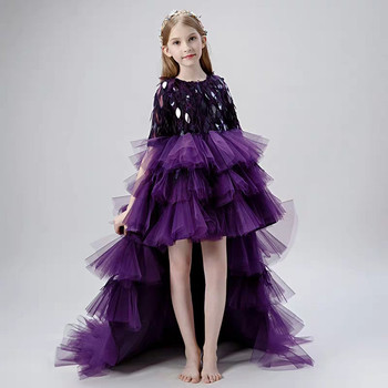 2019 Kids Luxury New Princess Evening Party Birthday Sequined Costumes Long Tail Dress Girls Model Show Dress Clothes 3~13YEARS