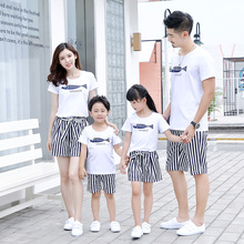Boys Girls Fish Print White T-shirt and Striped Shorts Set Family Matching Outfit Mother Father Daughter Son Summer Sets