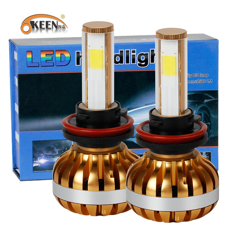 OKEEN  LED car headlight H7 LED H8/H9/H11 HB3/9005 HB4/9006 9007 H4 h3 H1 880 bulb auto front fog drl bulb automobile headlamp  2pcs cars headlight led cob kits h1 h3 h4 h7 h8 h9 h11 hb3 hb4 9005 9006 bulb car front fog lamps car led headlamp car styling