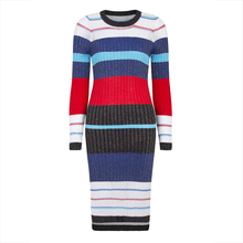 Young17 Autumn Dress Women Blue Stripe Color Block Mid-Calf Sexy High Street Knitwear Fashion Fall Knitted Dress Bodycon Dress