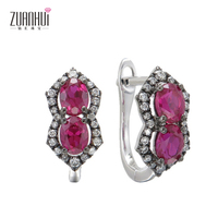 zuanhui 2017new product elegant jewelry 14K white gold created ruby and natural diamond earrings
