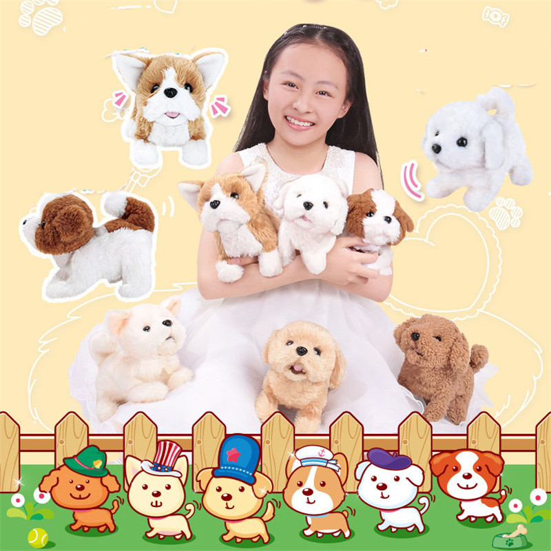 Puppy Dog Baby Toddler Walking Electric Intelligent Machine Teddy Golden Hair Plush Pets Dog Toy For Children's Birthday Gifts