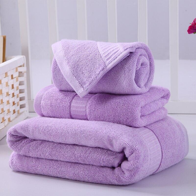 iDouillet 3 piece Towel Set for Bathroom Spa Bamboo Fiber Terry Cotton Bath & Hand Towels 70x140cm 34x76cm 1 Washcloth Lavender