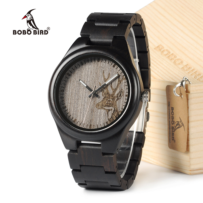 BOBO BIRD I26 Mens Unique Ebony Wooden Watches Deer Head Dial Casual Quartz Wrist Watches With Wood Links In Gift Watch Box bobo bird wh05 brand design classic ebony wooden mens watch full wood strap quartz watches lightweight gift for men in wood box