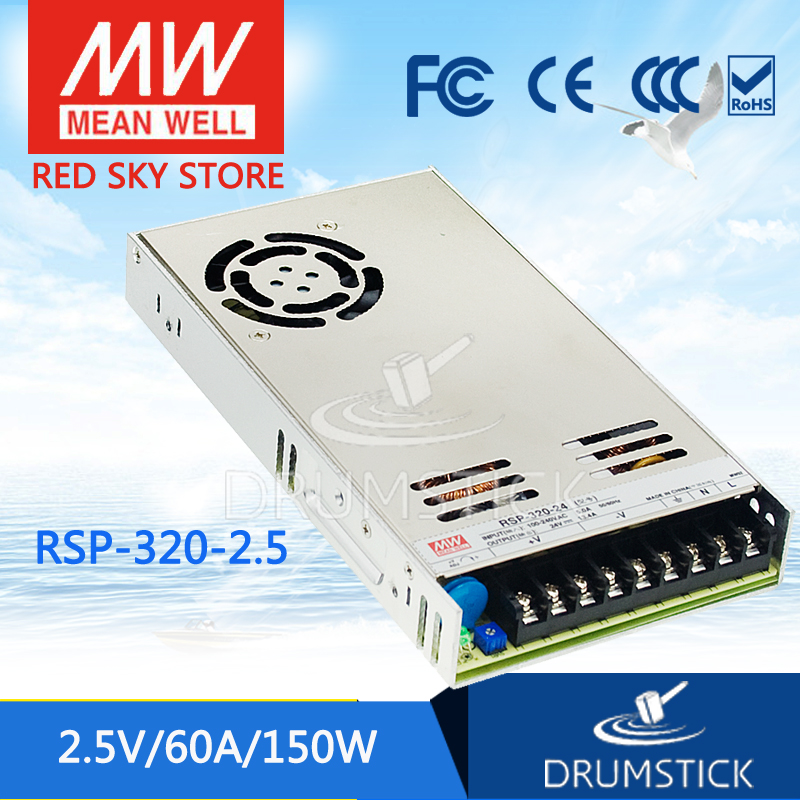 Best-selling MEAN WELL original RSP-320-2.5 2.5V 60A meanwell RSP-320 2.5V 150W Single Output with PFC Function Power Supply [cheneng]mean well original rsp 100 48 48v 2 1a meanwell rsp 100 48v 100 8w single output with pfc function power supply