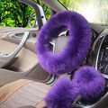 Winter Fur Warm Long Wool Plush Steering-wheel Cover Including Handbrake Cover Comfy Super Soft Steering Wheel Cover Protector