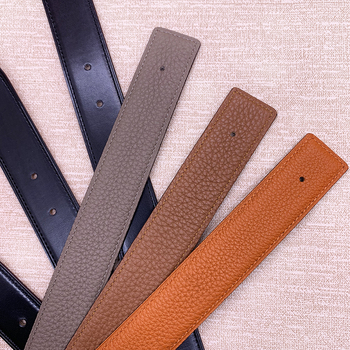 2021 WITHOUT BUCKLE Ciartuar men women 3.2cm belt same color line high quality cowskin genuine leather two sides free shipping 1