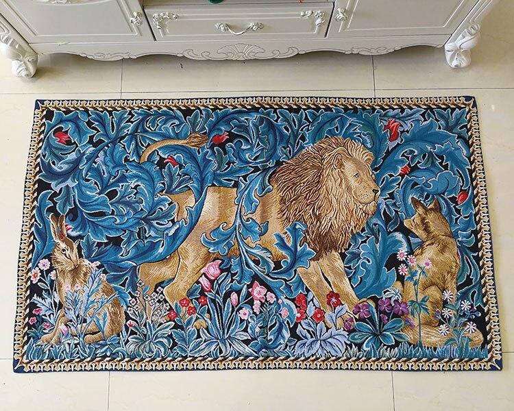 82x140cm trabajo de guillotín Rey León tapiz decorativo para colgar en la pared decoración marroquí de Bélgica alfombra de algodón - 5