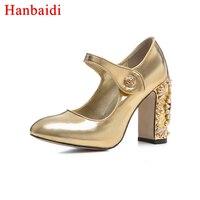 Пикантные Мэри Джейн женские туфли лодочки из лакированной кожи высокий толстый каблук кристалл металла часы Украшенные золотого и черног