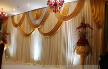 3M*6M White and Gold Shiny Wedding backdrop wih beautiful swags Weding stage curtain