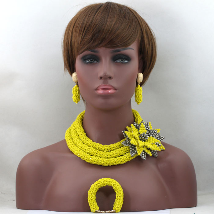 Luxury Yellow African Beads Wedding Necklace Set Chunky Nigerian African Jewelry Sets New Free Shipping HX569 цена и фото