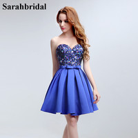 Sequined Sweetheart Homecoming Dresses Sleeveless Satin Graduation Dress Mini Girls Dresses Bow Waist Sash Prom Dresses
