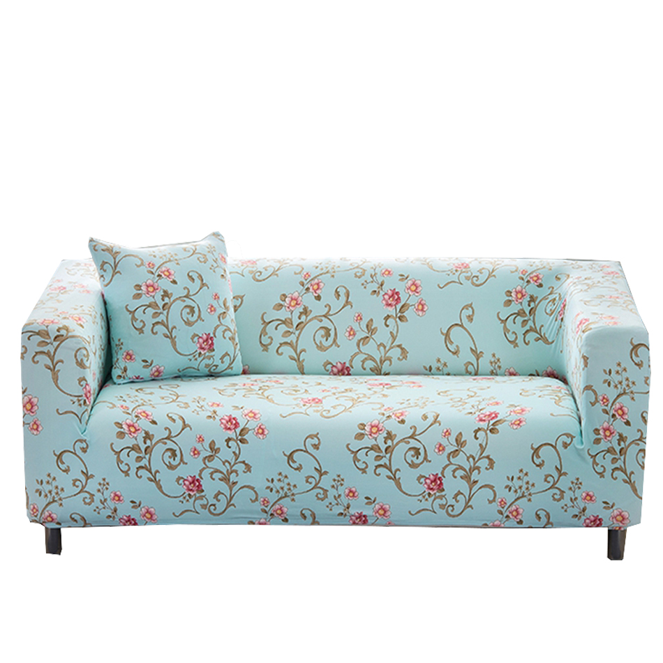 Light Blue Flower Couch Sofa Cover For Living Room Universal Stretch ...