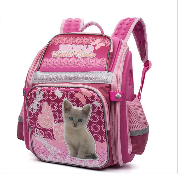 Cartoon Cat Dog Waterproof Nylon Orthopedic Backpack Children School Bags For Teenager Girls Book Bag School Knapsack 1-4 Grade