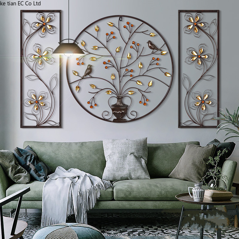 3D Stereo Flower Bird Iron Wall Hanging Mural Home Furnishing Craft Decor Home Livingroom Background Wall