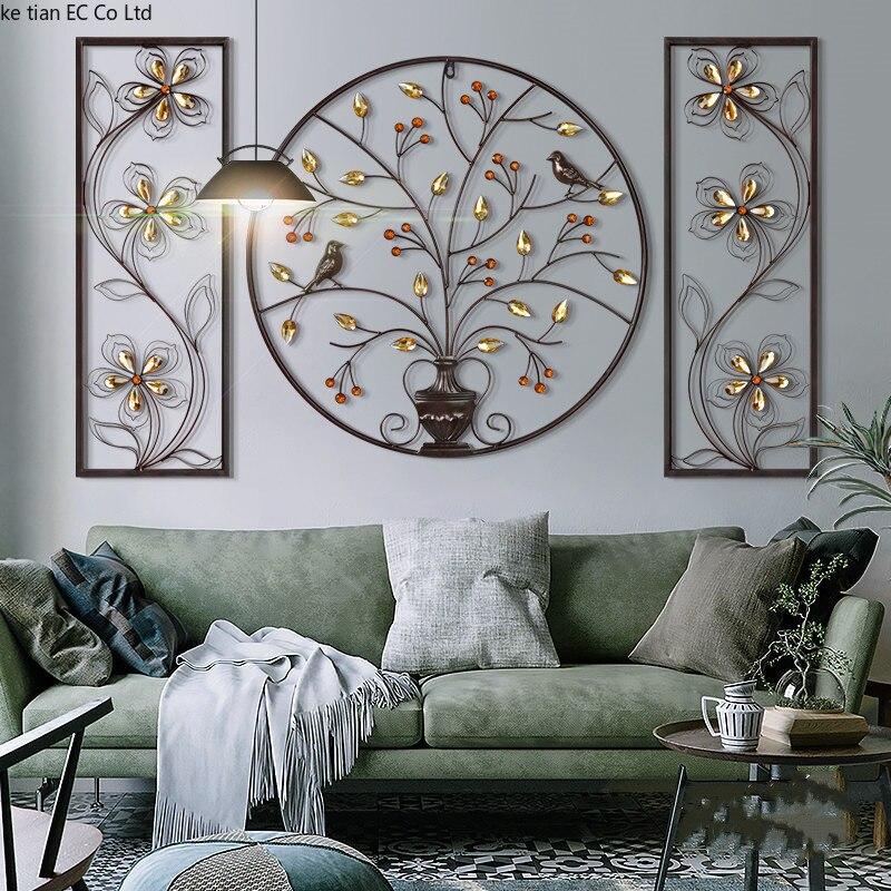 3D stéréo fleur oiseau fer tenture murale ameublement artisanat décor maison salon arrière-plan mur accessoires décoration