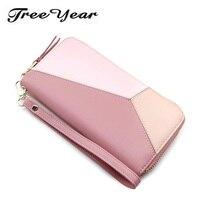 TreeYear Women Purse Wristband Female Purse Soft Pu Leather Phone Wallet Bag Patchwork Women Wallet Fashion