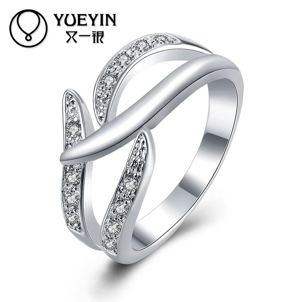 Female jewelry silver plated wedding rings Engagement jewelry ...