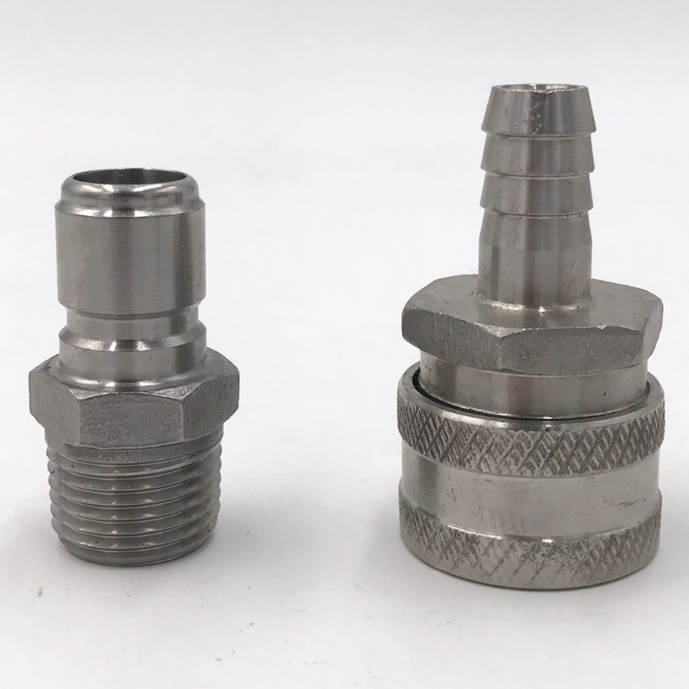 304 SS Female Quick Disconnect Set with 1/2 BSP Male Disconnect, Homebrew Fitting, BARA  Bar accessory