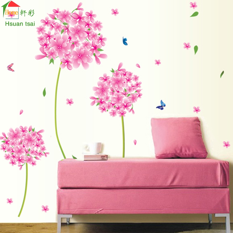 Rosa Diente de León flor amor Pared de Vinilo Pegatinas Home Decor Art Decals Wa